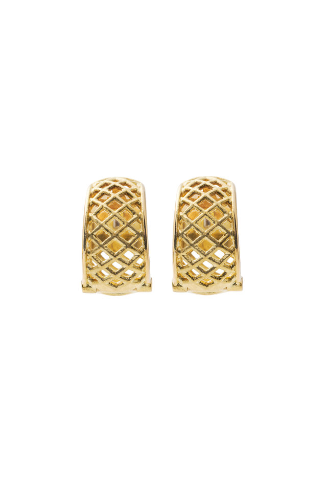 Spiral Mesh Yellow Gold Snap Hoop Earrings