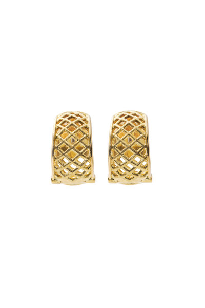 Paul Morelli - Spiral Mesh Yellow Gold Snap Hoop Earrings