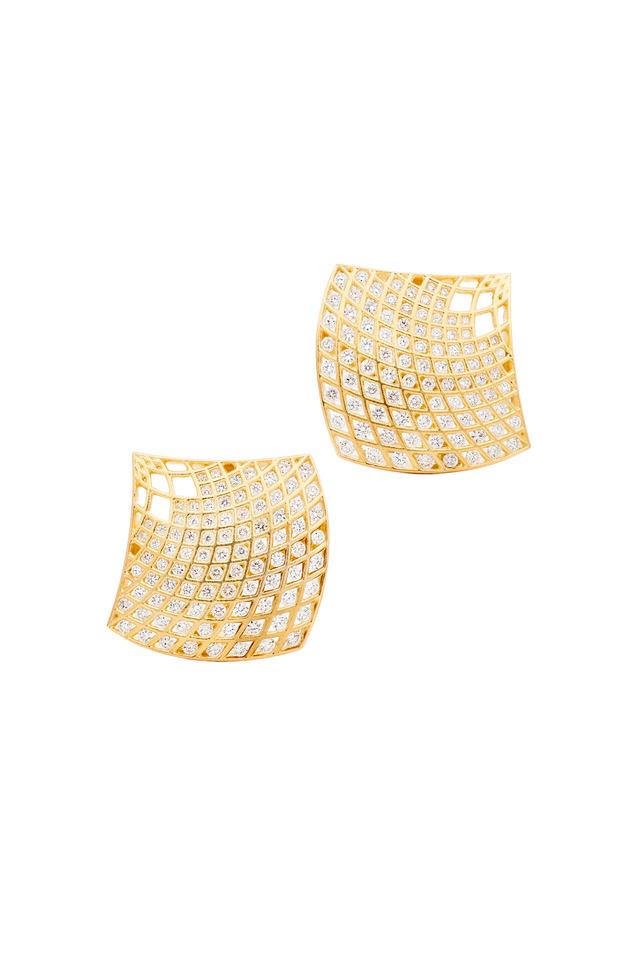 Gold Spiral Mesh Diamond Sailor Earrings