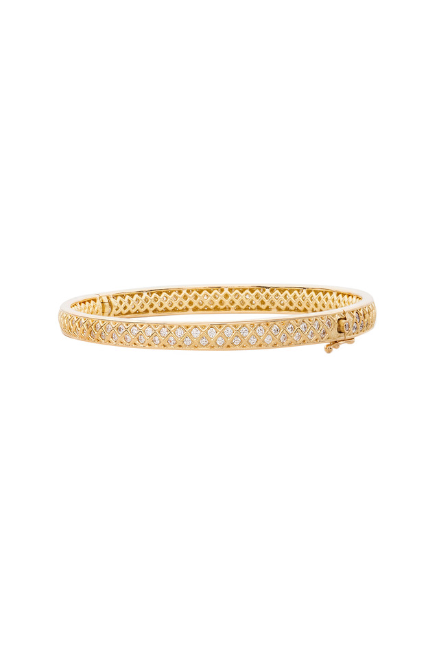 Gold Spiral Mesh Diamond Bangle