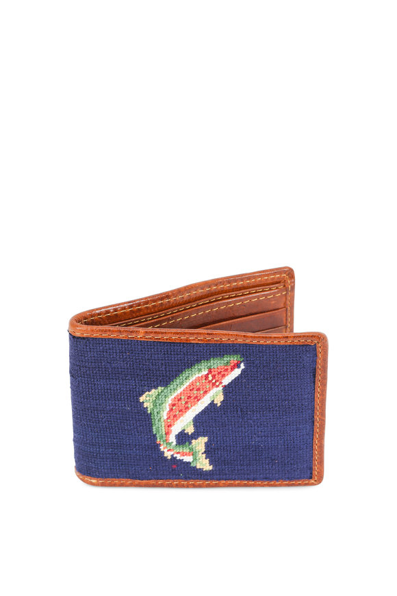 Smathers & Branson Dark Navy Trout & Fly Needlepoint Bi-Fold Wallet