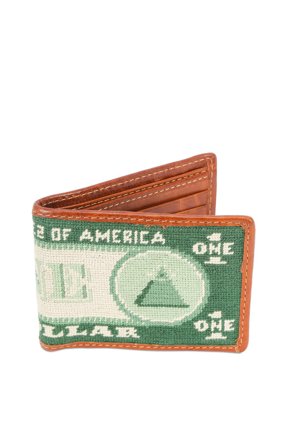 Smathers & Branson Green Dollar Bill Needlepoint Bi-Fold Wallet