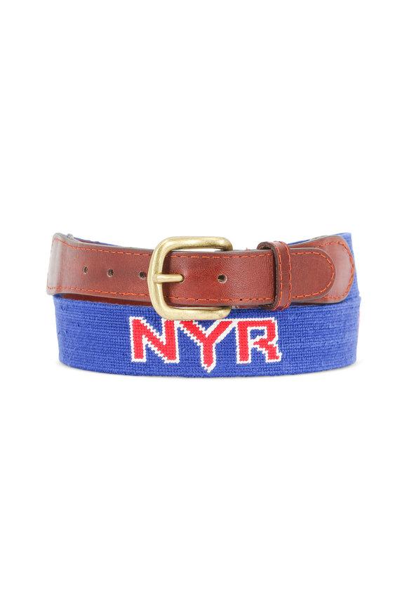 Smathers & Branson Royal Blue New York Rangers Needlepoint Belt