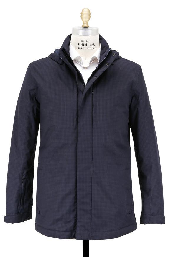 Z-Zegna Navy Blue Ripstop Techmerino Weatherproof Jacket