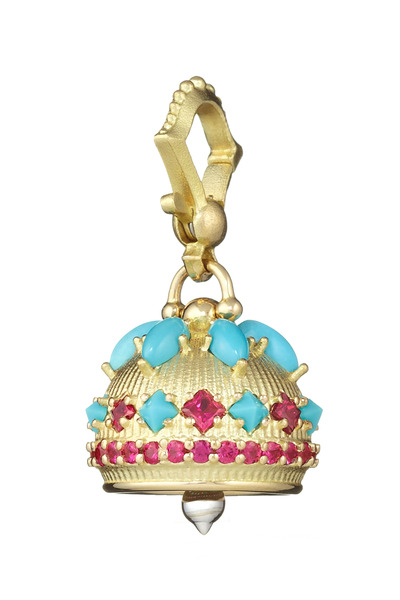 Paul Morelli - Meditation Bell Yellow Gold Turquoise Ruby Pedant