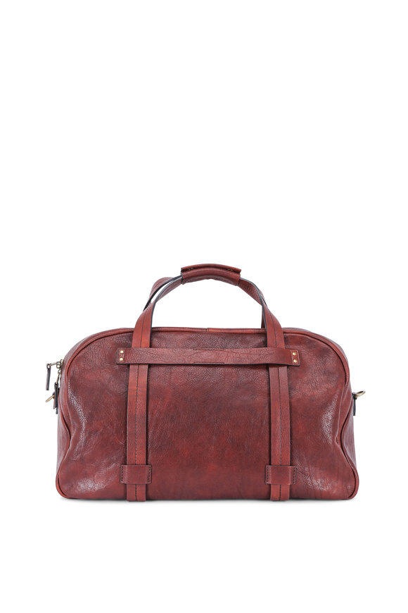 Bosca Medium Brown Washed Italian Leather Duffle Bag