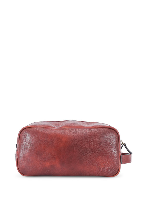 Bosca Medium Brown Washed Italian Leather Dopp Kit