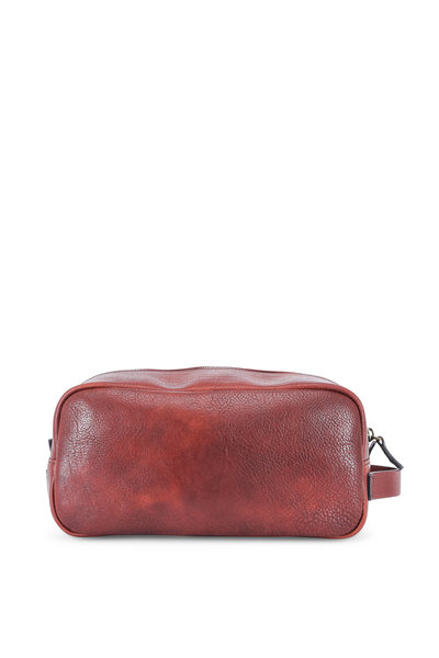 Bosca - Medium Brown Washed Italian Leather Dopp Kit