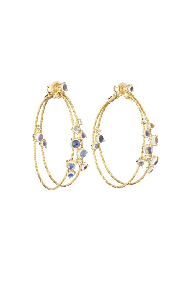 Yellow Gold Double Wire Moonstone Hoop Earrings