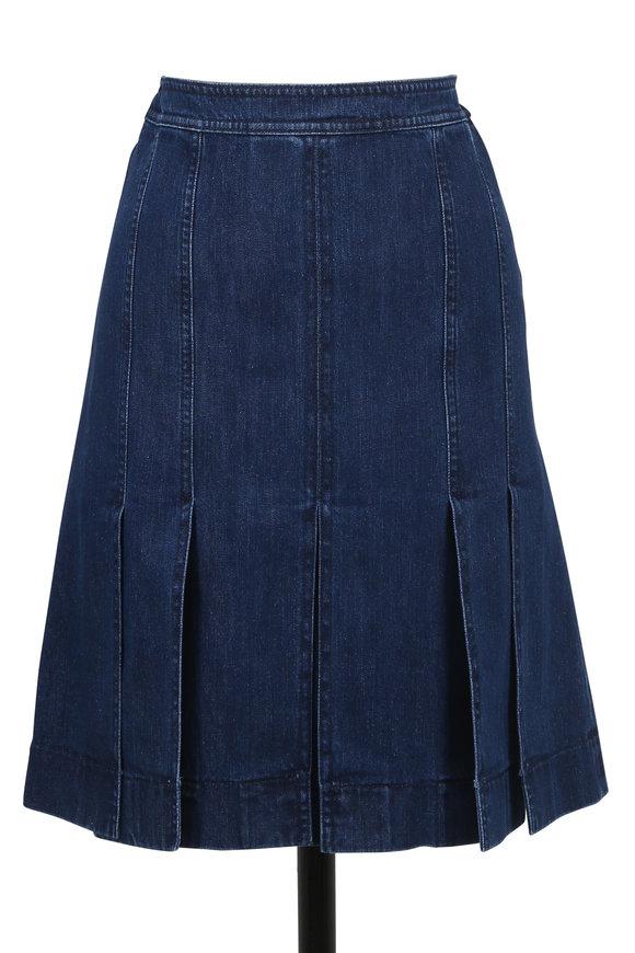 Michael Kors Collection Marine Washed Denim Slash Skirt