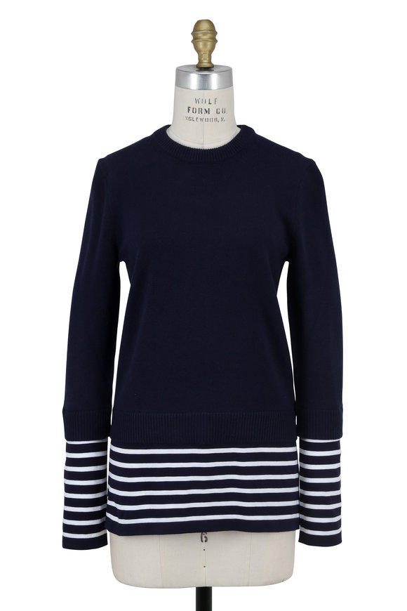 Michael Kors Collection Maritime Cashmere & Cotton Layered Sweater