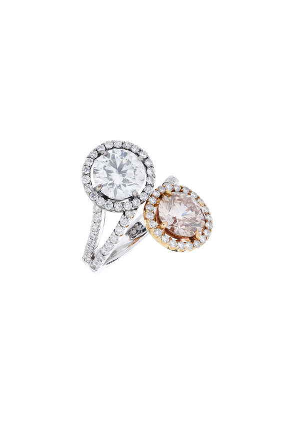 Fred Leighton 18K Gold Gray & Pink Diamond Crossover Ring
