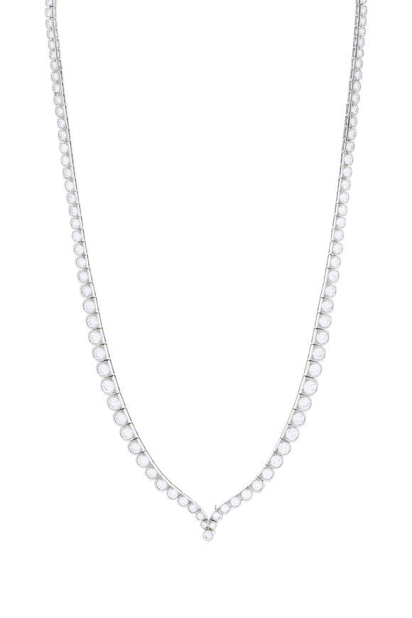 Fred Leighton Platinum Diamond Scallop Necklace
