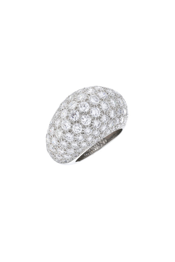 Fred Leighton Platinum Diamond Bombe Ring