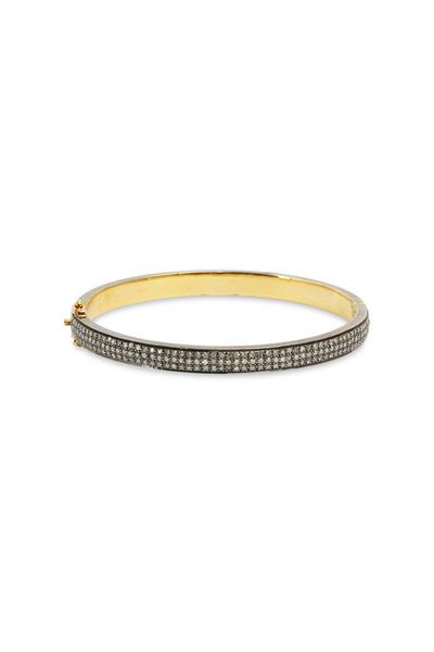 Loren Jewels - Gold & Silver Pavé-Set Diamond Bangle