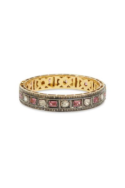 Loren Jewels - Gold & Silver Pink Tourmaline Diamond Bangle