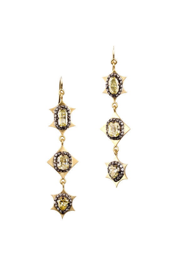 Sylva & Cie 18K Yellow Gold Yellow Diamond Drop Earrings