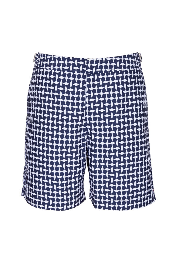 Orlebar Brown Bulldog Huron Navy Blue Geometric Swim Trunks