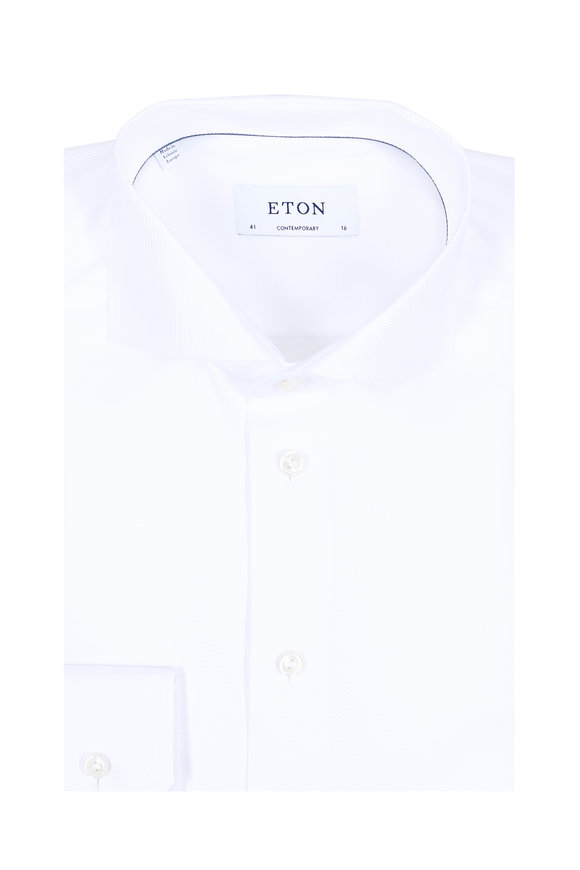 Eton White Textured Striped Contemporary Dress Shirt