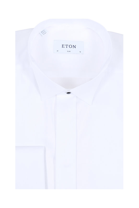 Eton Solid White French Cuff Slim Fit Dress Shirt