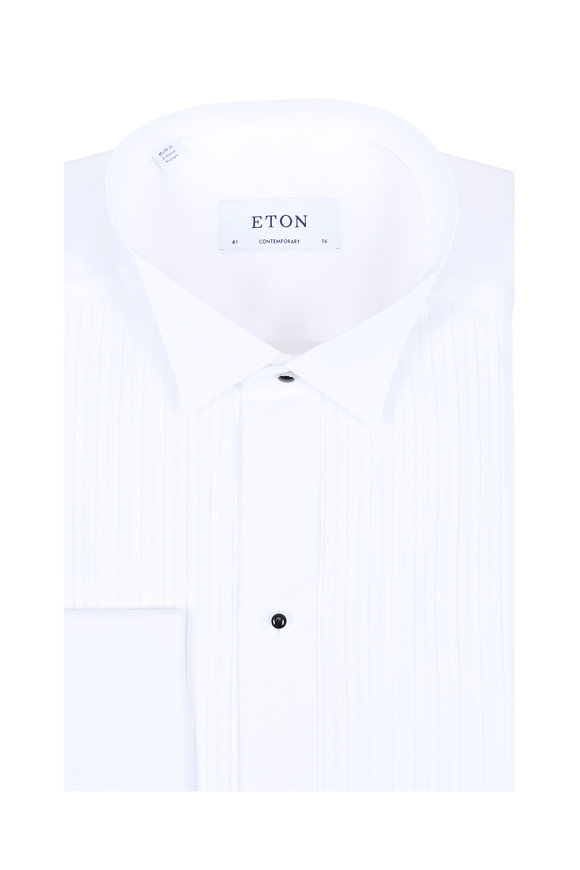 Eton White Striped French Cuff Contemporary Dress Shirt