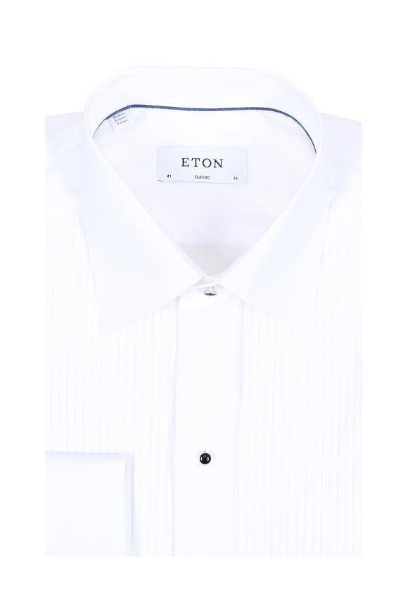 Eton White Textured French Cuff Classic Dress Shirt