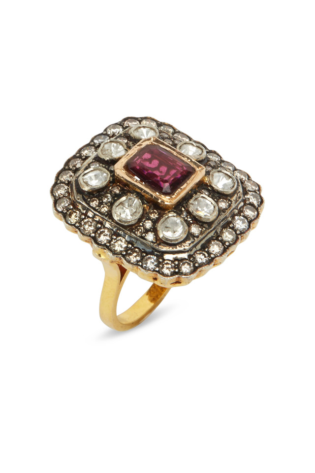 Gold & Silver Square Tourmaline Diamond Ring