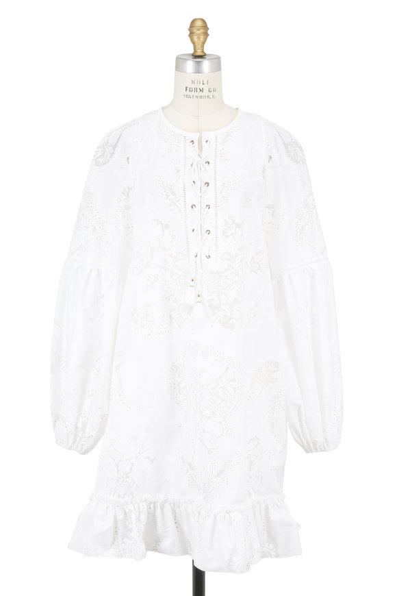Roberto Cavalli White Filigree Lace-Up Dress