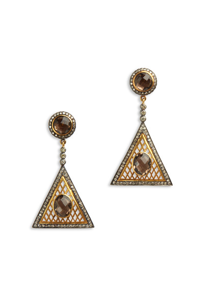 Loren Jewels - Gold & Silver Smokey Quartz Diamond Earrings