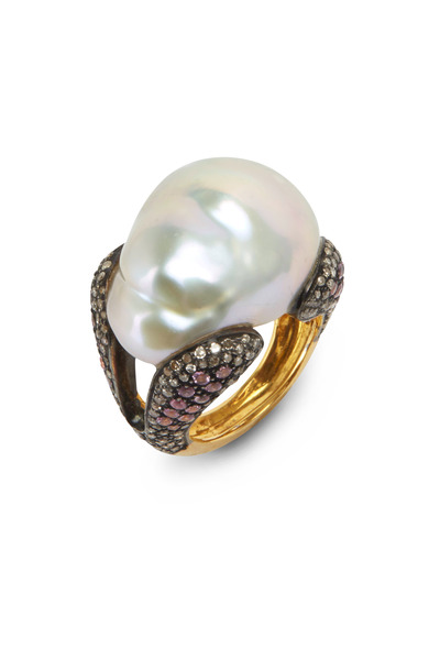 Loren Jewels - Gold & Silver Pink Sapphire Pearl Ring