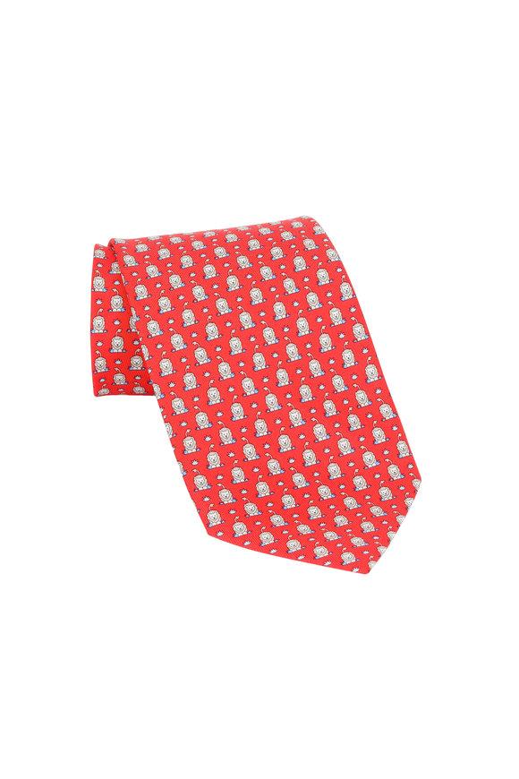 Salvatore Ferragamo Red Lion Silk Necktie