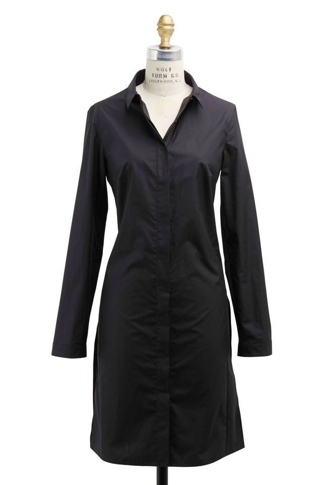 Black Cotton Tunic Coat
