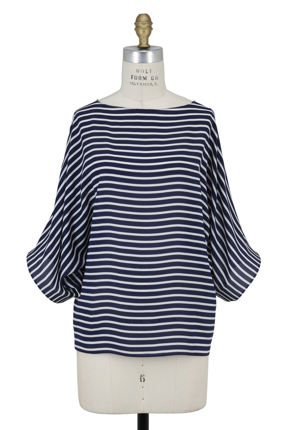 Michael Kors Collection Maritime & White Silk Georgette Bateau Neck Tunic