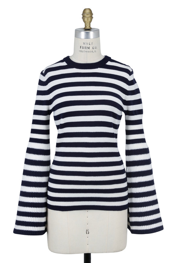 Michael Kors Collection Navy & White Stripe Cashmere Bell Sleeve Sweater