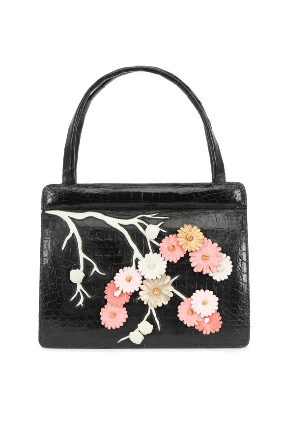 Nancy Gonzalez Black Crocodile Japanese Floral Frame Satchel