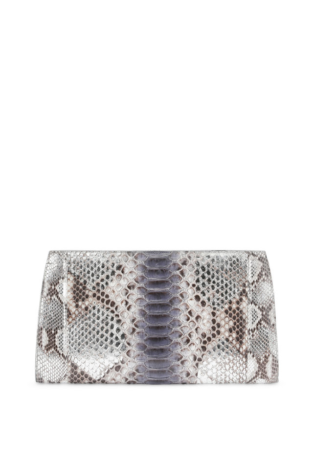 Anthracite Python & Crocodile Large Frame Clutch
