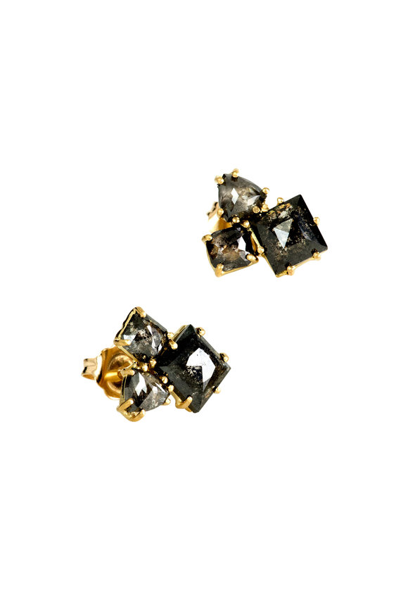 Sylva & Cie 18K Yellow Gold Gray Diamond Cluster Earrings