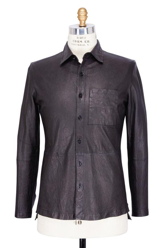 Baldwin Alan Black Leather Overshirt