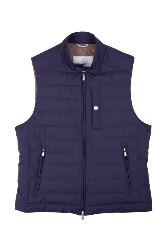 Brunello Cucinelli Navy Blue Nylon Zip Vest