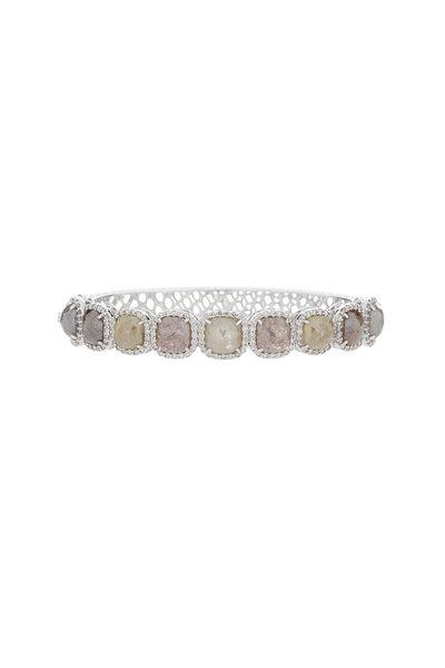 Sutra - 18K White Gold Rough Diamond Bangle