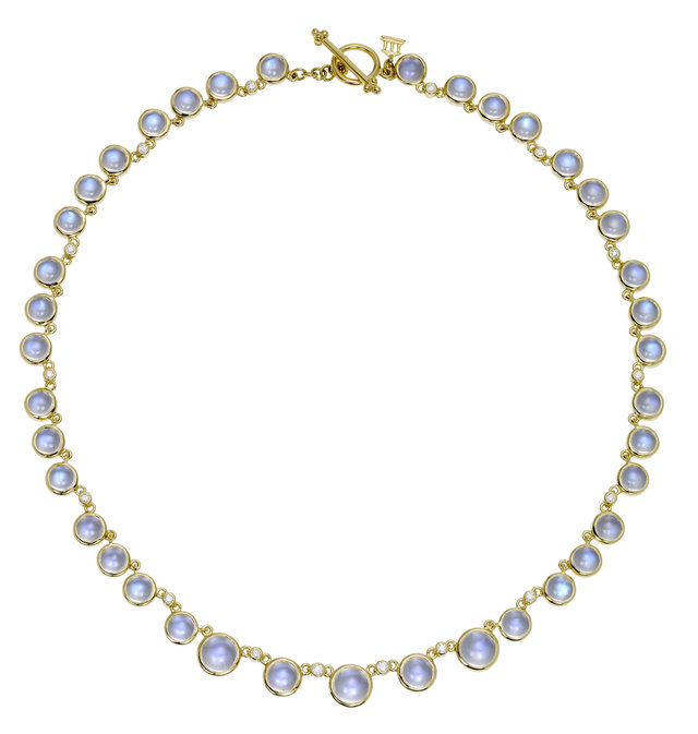 18K Yellow Gold Moonstone Necklace
