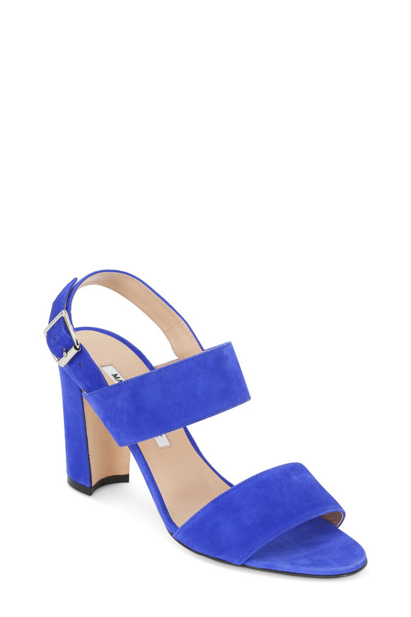 Manolo Blahnik Khan Electric Blue Suede City Sandal, 90mm