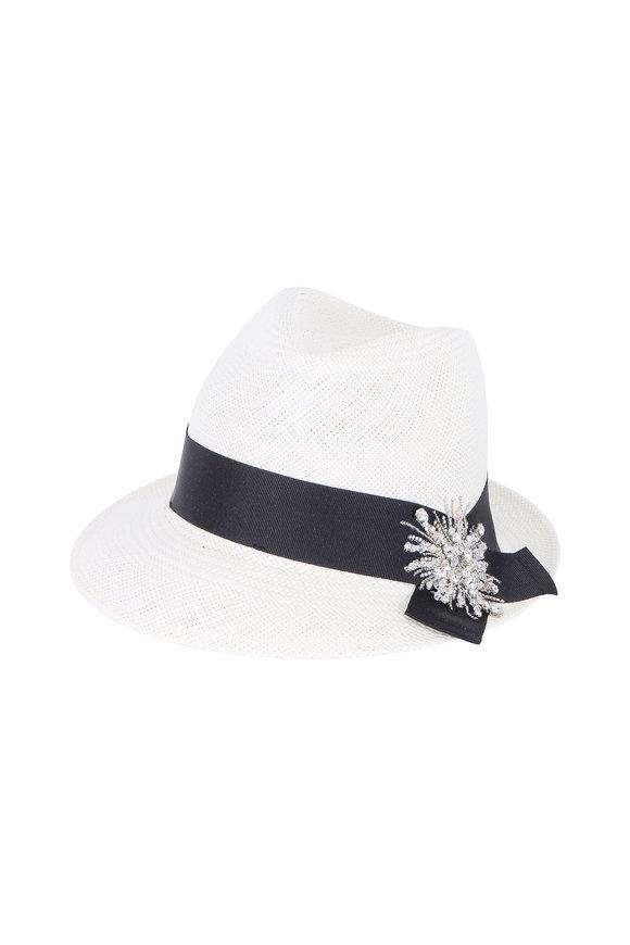 Brunello Cucinelli White Straw With Swarvoski Crystal Brooch Hat