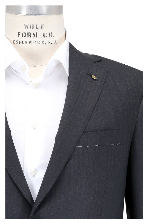 Oxxford Clothes Charcoal Gray Herringbone Wool Suit