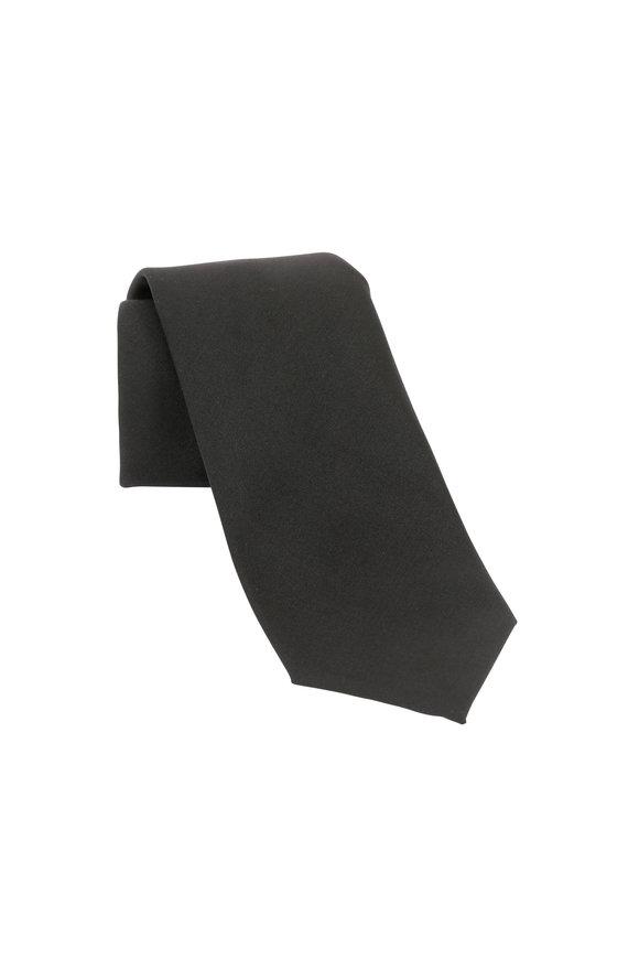 VKNagrani Solid Black Wool Necktie