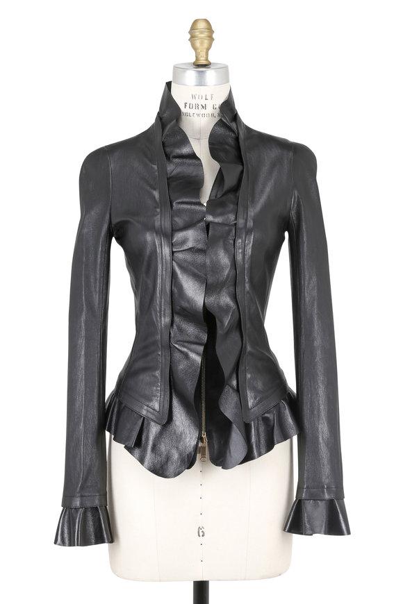 Jitrois Jaeger Stretch Leather Ruffle Detail Jacket