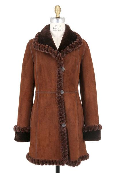 Viktoria Stass - Mocha Brisa Shearling & Mink Trim Coat