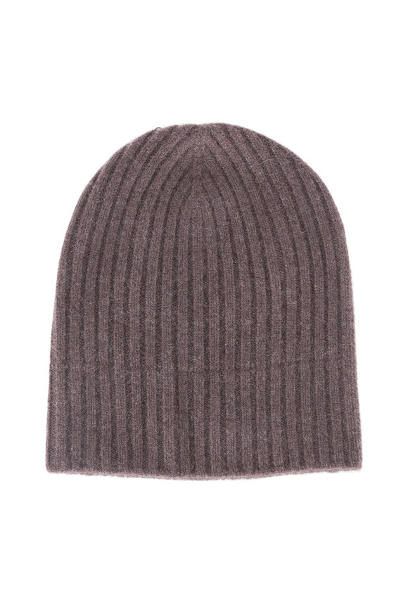 Wigens Brown Ribbed Cashmere Beanie