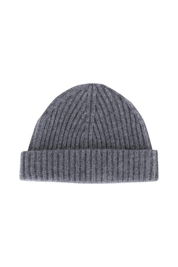 Raffi  Iron Gray Ribbed Cashmere Beanie