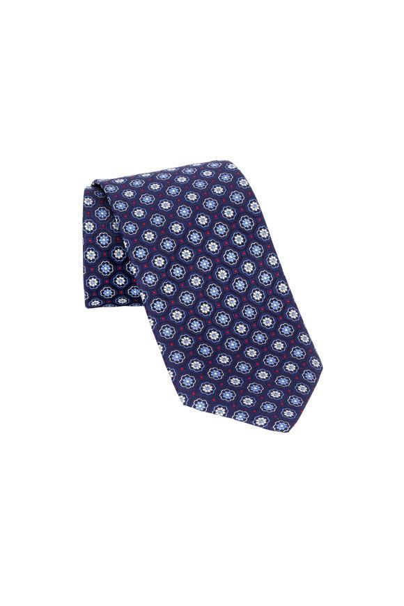 Eton Navy Blue Flower Silk Necktie